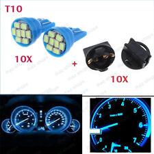 20X Ice Blue T10 194 LED Bulbs With Twist Lock Sockets Instrument Panel Lights