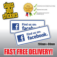 2x Find US on Facebook Social Network Stickers Business Shop Media Advertising.