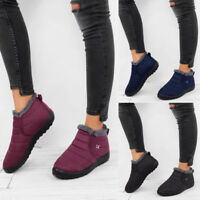 Women Ladies Ankle Snow Boots Winter Warm Fur Lining Slip On Casual Shoes Size