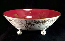 Coalport Cairo Birds Maroon Red Gilt Trim White Gold Overlay 3 Footed Bowl Dish