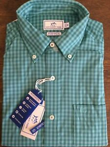 NWT MENS SOUTHERN TIDE INTERCOASTAL Long Sleeve BD Aqua Check Size Medium