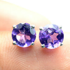 6mm Top Natural Round Cut Purple Amethyst Gem 925 Solid Silver Stud Earring