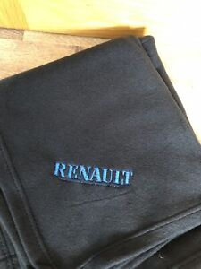 Black  Fleece Blanket With Embroidered Renault Wording Logo