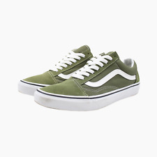 Vans Old Skool Mens Trainers UK 8 Olive Green Suede White Leather Sneakers