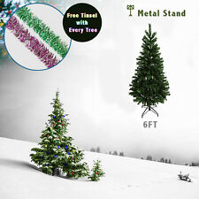 6ft Green Christmas Tree Artificial Indoor Xmas Trees Metal Stand 1 Tinsel FREE