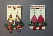 2 Pairs New Coconut Shell Boho Drop Chandelier Earrings