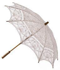 Ivory Parasol -  Ladies Vintage Victorian Edwardian Wedding Lace Sun Umbrella