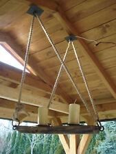 Vintage Rustic Style Wooden Chandelier -  oak
