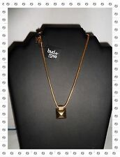 Magnifique Collier Fantaisie  Doré Pendentif Rectangle  Bud to Rose 40 / 45  cm