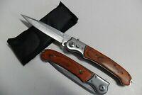 CP-053 Couteau Pliant de Poche Lame Acier Fine 10 cm Manche Bois 12,5 cm Outdoor