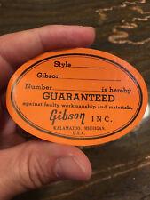 Vintage Original Gibson Guitar Oval Orange Label Kalamazoo Gum Backed Sticker