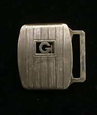 Plate Vintage Small Belt Buckle Gold Hue G Art Deco Giant Grip Verithin Silver