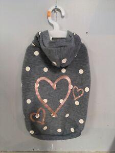 NWT Top Paw Grey Polka Dot Hearts Dog Hoodie Sweater Sweatshirt Pull On Sz M NEW