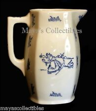"Blue and White Stoneware Sponge ware 7"" Pitcher Girl chased by Goose Rare !"