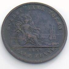 1852 One 1/2 Half Penny Province Canada Un Sou Copper Quebec Bank Token H966