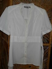 Ladies~ Off-White Empire Blouse~ Short Sleeve ~ Back tie~ Size L ~Croft & Borrow