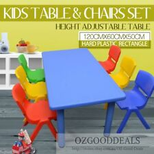 LARGE CHILDREN TODDLER KIDS ACTIVITY TABLE BLUE AND 6 CHAIR CHAIRS CLR 120X60cm