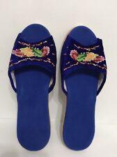 Woman Blue Bids Velvet Alfombra Bedroom/indoor Slipper Size 9