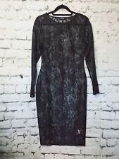 Missguided Black Lace Midi Long Sleeve Dress size 8 US NWT