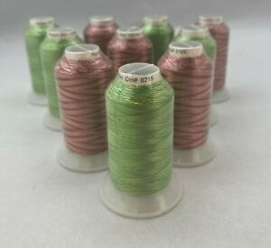Embroidery Machine Variegated Thread Rayon GREEN RUST 1000m x10 Reels CLEARANCE