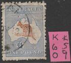 Kangaroo 1 Pound Brown/Blue creased 3rd Wmk FU RARE  L%$K K59