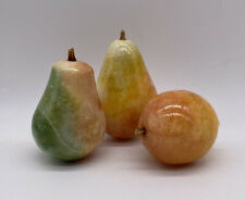 Vintage Carved Alabaster Stone Fruit Pears And Lemon Figurines Made In Italy