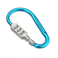 Portable Travel 3 Dial Bag Suitcase Combination Lock Luggage Padlock Carabiner