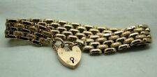 Beautiful Antique 9 Carat Gold Fancy Bracelet With Padlock Fastener