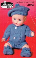 "Dolls clothes knitting pattern for 12"" 14"" &16"" doll.   (V Doll 113)"