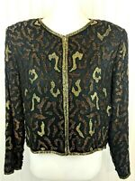 Vintage Stenay Beaded Silk Evening Jacket Black Gold Animal Print Cocktail M