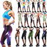 Women 3/4 Capri Cropped Stretchy Pants Athletic Sports Gym Yoga Running Leggings