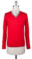 Neu Svevo Parma Rot Pullover - V-Ausschnitt - Klein / 48 - (4659SE12MP46V18C)