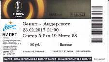 Ticket MINT Zenit St.Petersburg RSCA Anderlecht 2017 League Europa Football