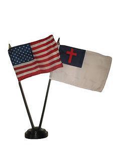 "USA American w/ Christ Christian Flag 4""x6"" Desk Set Table Stick Black Base"