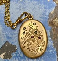 Victorian Locket necklace gold watch chain chatelaine assemblage long ooak AS IS