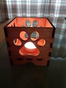 Paw Print Pet Memorial Tea Light Candle box Personalised