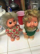 2 Whimsical Vintage Leprechaun Dolls - 9 Inches High