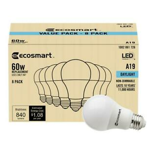 60-Watt Equivalent A19 Non-Dimmable LED Light Bulb Daylight (8-Pack) Low Cost