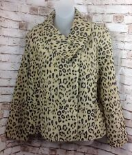 CHICOS Sz 2 Womens Large 12 14 Animal Print Cheetah Suede Leather Jacket Beige