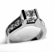 1.25 CT PRINCESS CUT DIAMOND ENGAGEMENT WEDDING RING 14K WHITE GOLD PD366G