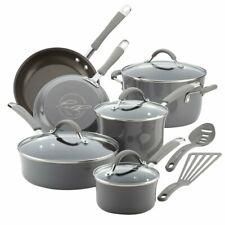New listing Rachael Ray Cucina Nonstick Cookware Pots and Pans Set, 12 Piece, Sea Salt Gray
