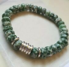 Faceted Green Dot Jade & Links Of London sweetie silver rings, Bracelet NEW