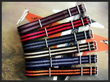 16mm Black NATO G10® nylon Military watch band bond stitch IW SUISSE 18 20 22 24