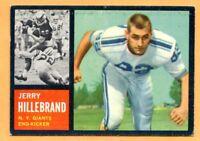 1962 Topps Football # 113 Jerry Hillebrand (EX) Lot 701-- New York Giants
