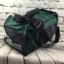 "Vintage Wilson Duffle Sport Gym Bag Travel Tote Green Black 9""X9""X18"""