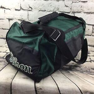 """Vintage Wilson Duffle Sport Gym Bag Travel Tote Green Black 9""""X9""""X18"""""""