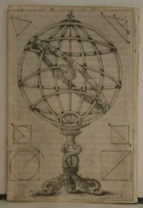 ARMILLARY SPHERE 1608 FERRUCCIO FERRETTI UNUSUAL ANTIQUE COPPER ENGRAVED CHART