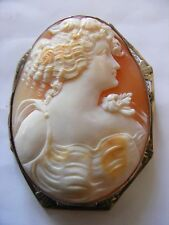 Antique cameo pin brooch pendent white gold 10 Kt