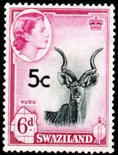 More details for 1961 swaziland sg 72a 5c on 6d black and magenta - overprint high - mounted mint