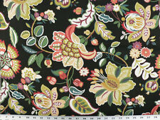 Drapery Upholstery Fabric Indoor/Outdoor Jacobean Floral - Black Multi